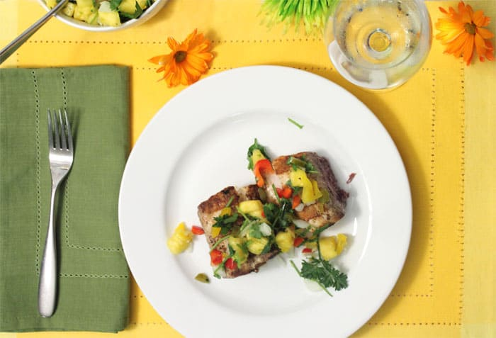Grilled Mahi Mahi with Pineapple Salsa dinner | 2 Cookin Mamas