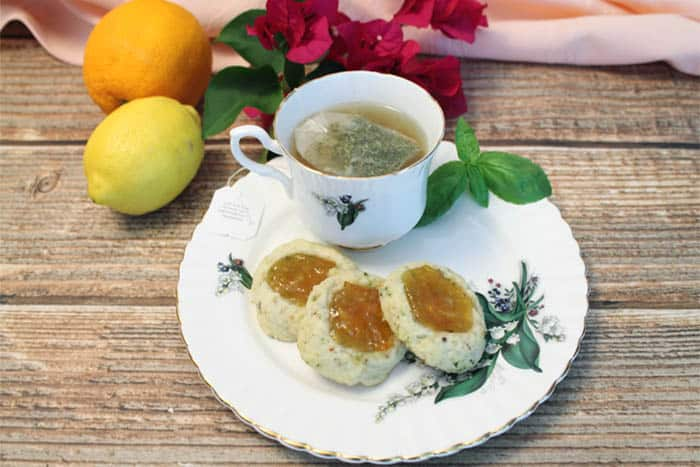 Lemon Basil Marmalade Cookies and tea | 2 Cookin Mamas