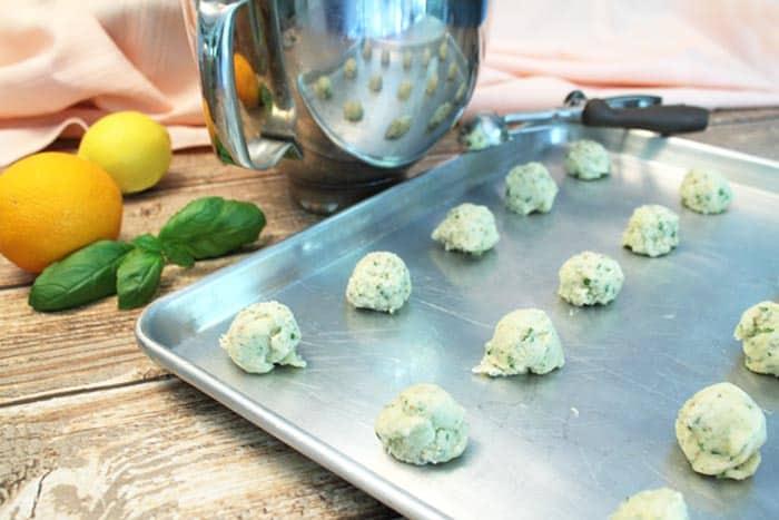 Lemon Basil Marmalade Cookies form balls | 2 Cookin Mamas