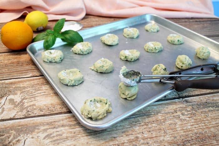 Lemon Basil Marmalade Cookies making thumbprint | 2 Cookin Mamas