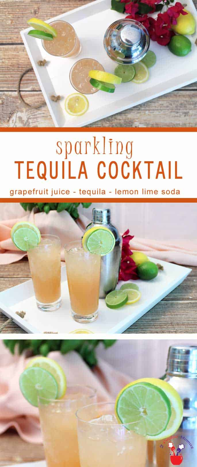 Sparkling Tequila Cooler | 2 Cookin Mamas Our Sparkling Tequila Cooler is a refreshingly tart cocktail based on the Paloma. Grapefruit juice, tequila & lemon lime soda make this a tropical delight.