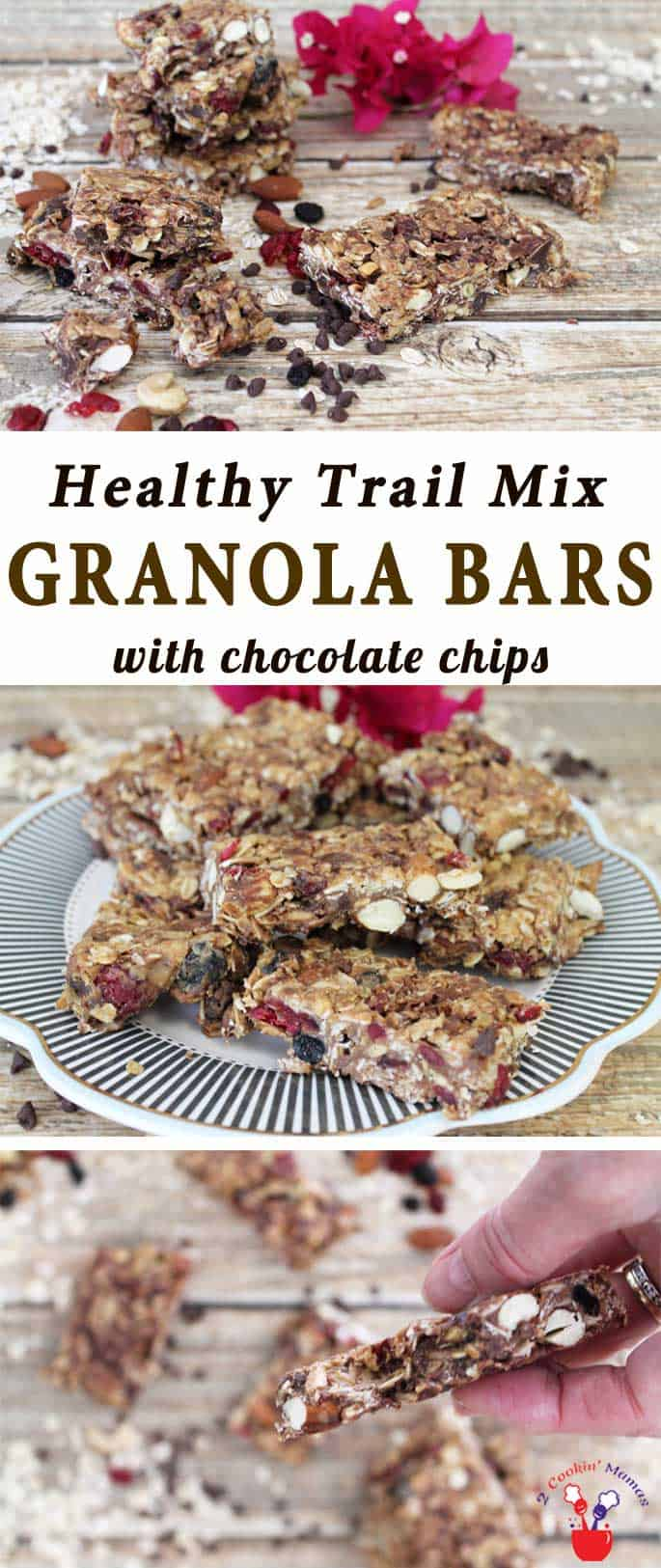 Trail Mix Granola Bars main | 2 Cookin Mamas Trail Mix Granola Bars are a delicious, homemade & healthy snack. Sweetened with honey, flavored with peanut butter & packed with nuts, seeds & dried fruit. #recipe