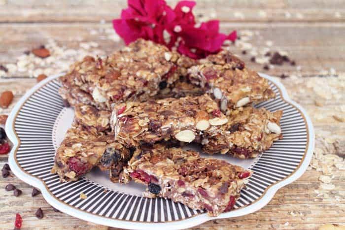 Trail Mix Granola Bars plated | 2 Cookin Mamas