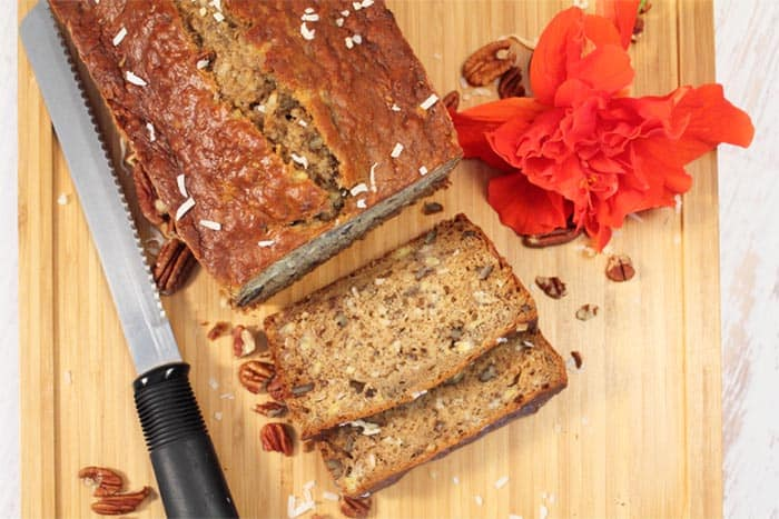 Tropical Coconut Banana Bread overhead | 2 Cookin Mamas