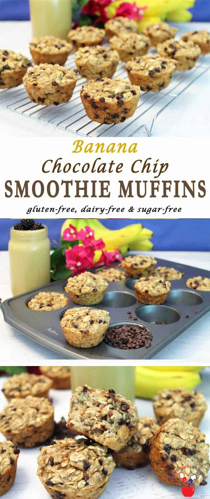 Banana Chocolate Chip Smoothie Muffins   2 Cookin Mamas Sweet Banana Chocolate Chip Smoothie Muffins are like eating a healthy smoothie minus the glass. They're easy to make & sugar, egg, gluten & dairy-free too!