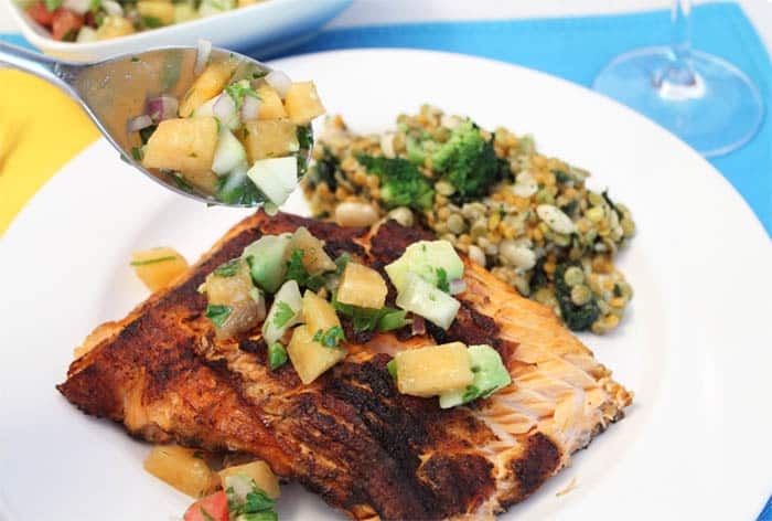 Grilled Cajun Salmon with Cucumber Lime Salsa 2 | 2 Cookin Mamas