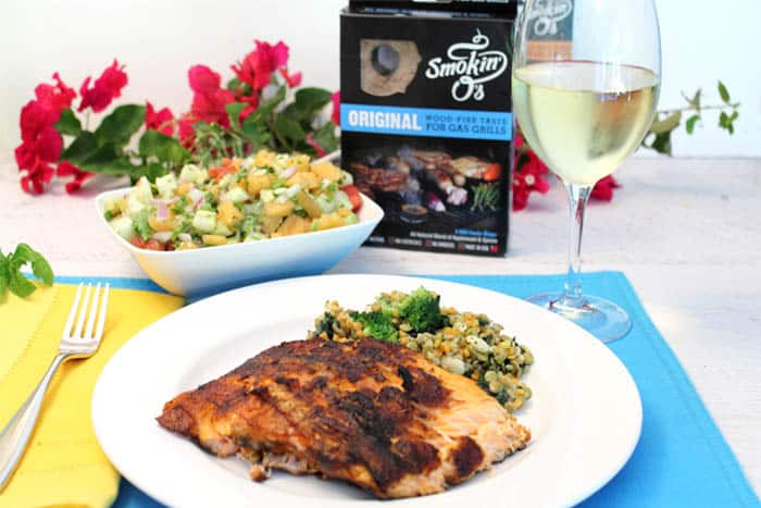 Grilled Cajun Salmon with Cucumber Lime Salsa dinner   2 Cookin Mamas