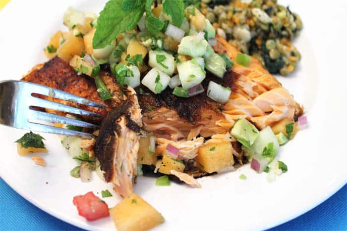 Grilled Cajun Salmon with Cucumber Lime Salsa flaky | 2 Cookin Mamas