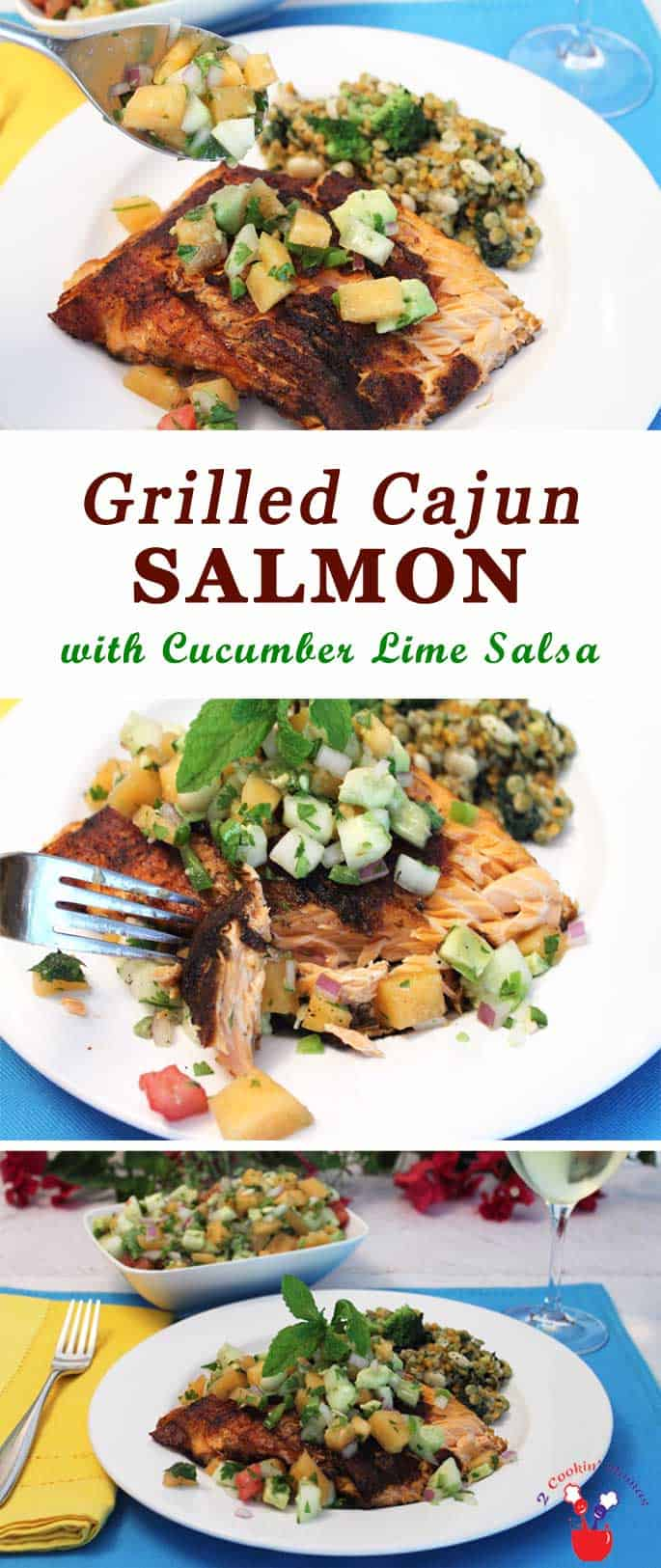 Grilled Cajun Salmon with Cucumber Lime Salsa | 2 Cookin Mamas Grilled cajun salmon with cucumber lime salsa is a little bit spicy & a little bit smoky. Top with our fresh cucumber & melon salsa for the perfect pairing of flavors! #recipe