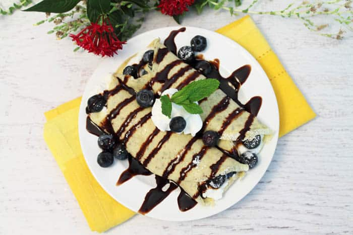 Healthy Blueberry Crepes overhead 1 | 2 Cookin Mamas