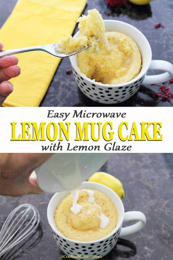 Nothing satisfies your sweet tooth quicker than this easy Lemon Mug Cake. Just mix a few simple ingredients together in a mug, microwave for 2 minutes, then top with a lemon glaze drizzle. It\'s sweet and tart and can be in your belly in 4 minutes! It\'s also dairy-free and perfect for one or two people. #mugcake #microwave #lemon #easy #dessert #noegg #recipe