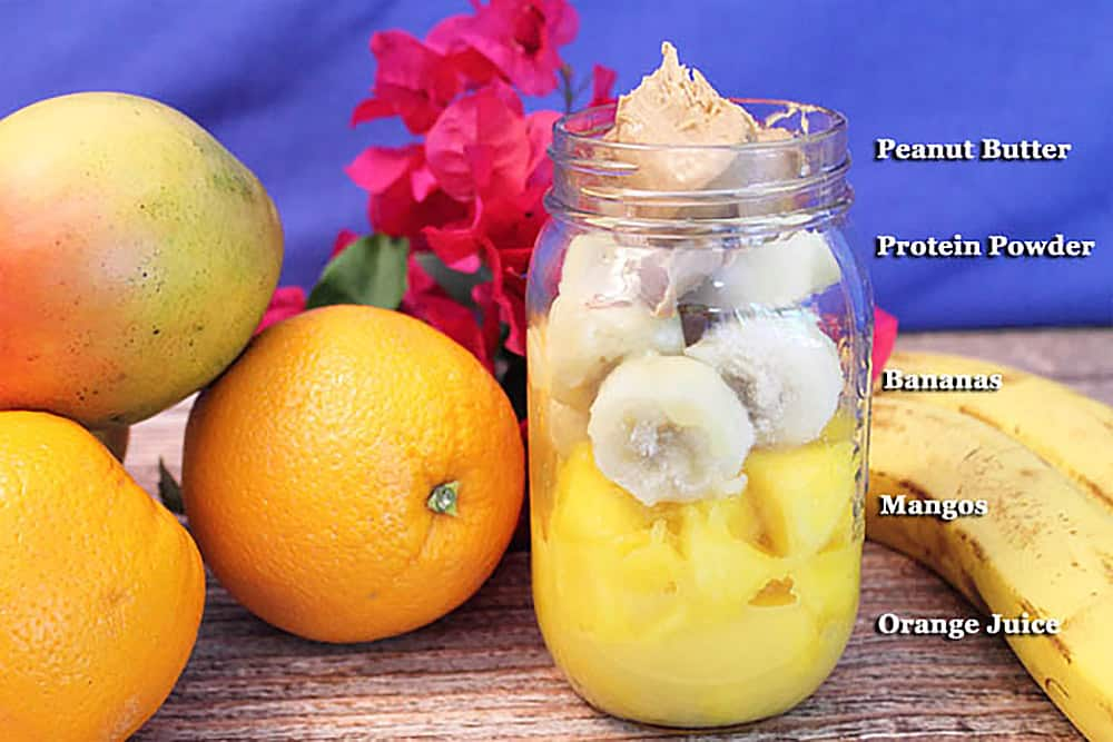 Layered ingredients in mason jar.