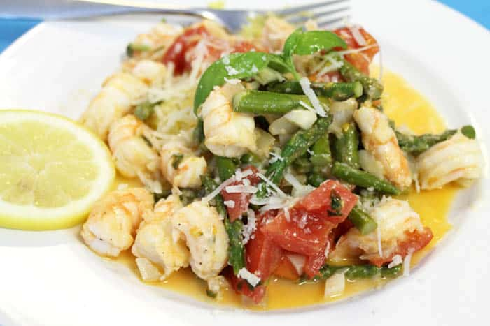 Summer Shrimp Primavera closeup | 2 Cookin Mamas