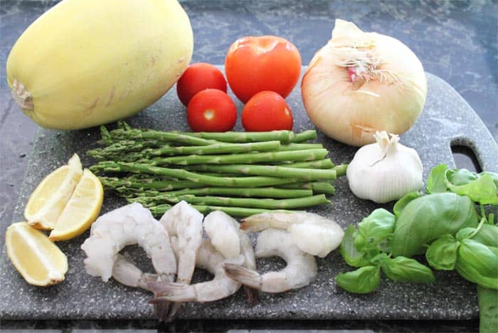 Summer Shrimp Primavera ingredients | 2 Cookin Mamas