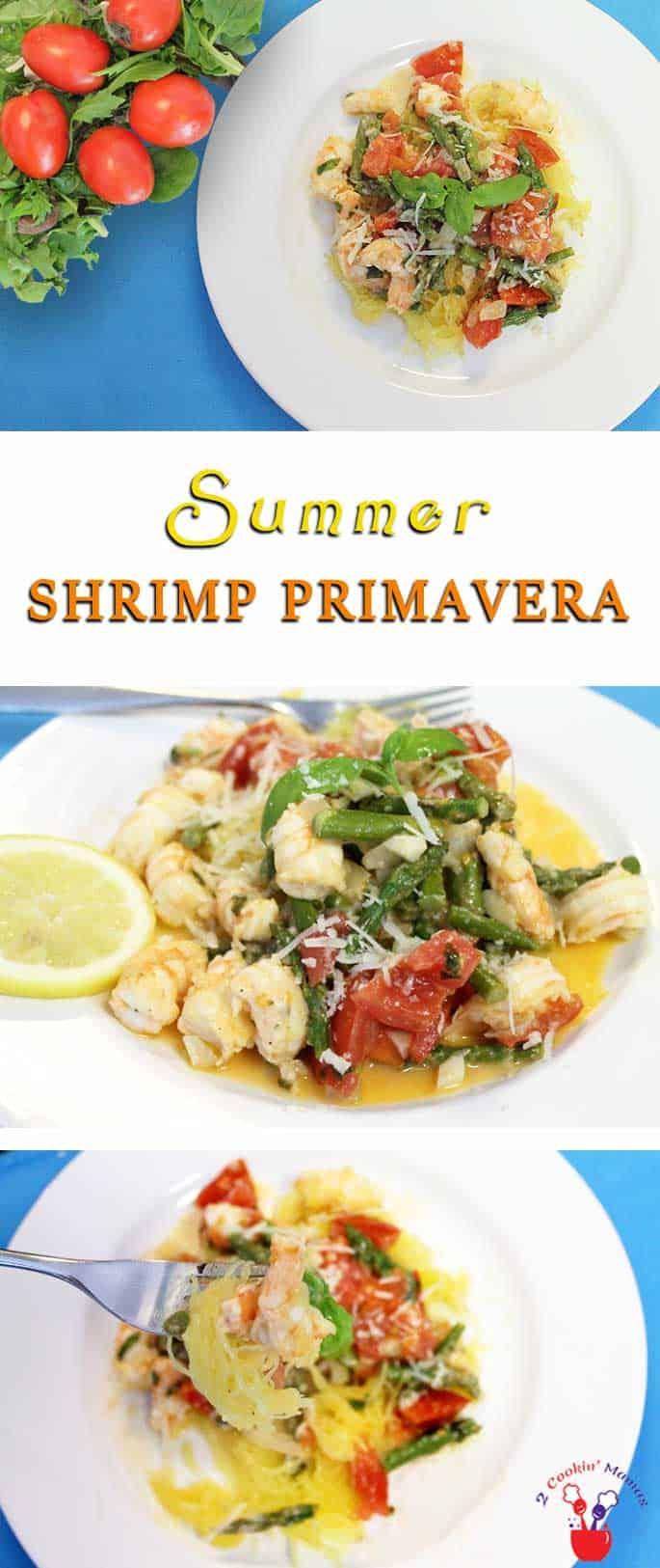 Summer Shrimp Primavera | 2 Cookin Mamas A light summertime dinner recipe! Summer Shrimp Primavera is full of seasonal vegetables & shrimp,tossed in lemon wine broth & served over spaghetti squash.