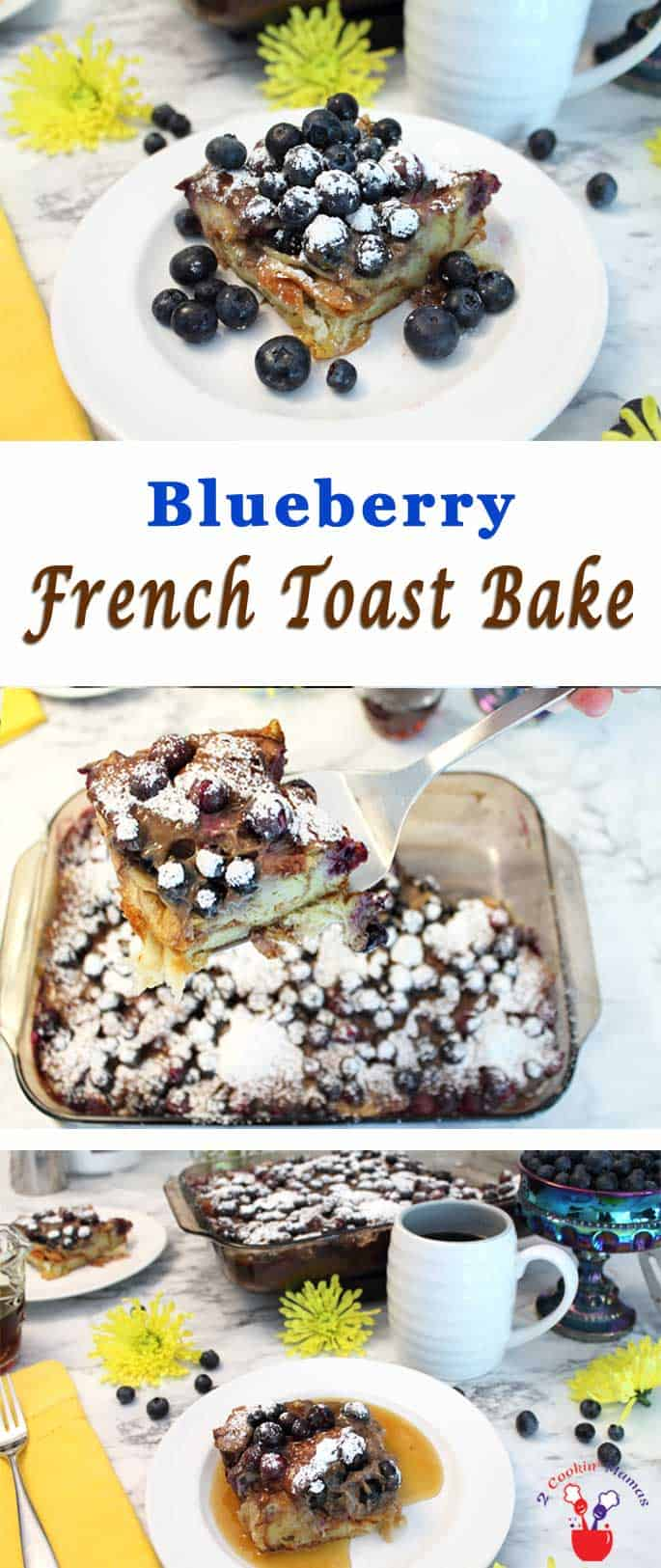 Our Blueberry French Toast Bake makes breakfast as easy as 1-2-3. Layer croissants, blueberries, yogurt & eggs in dish, chill & bake. A sweet morning treat! #breakfast #frenchtoast #blueberries #recipe #casserole