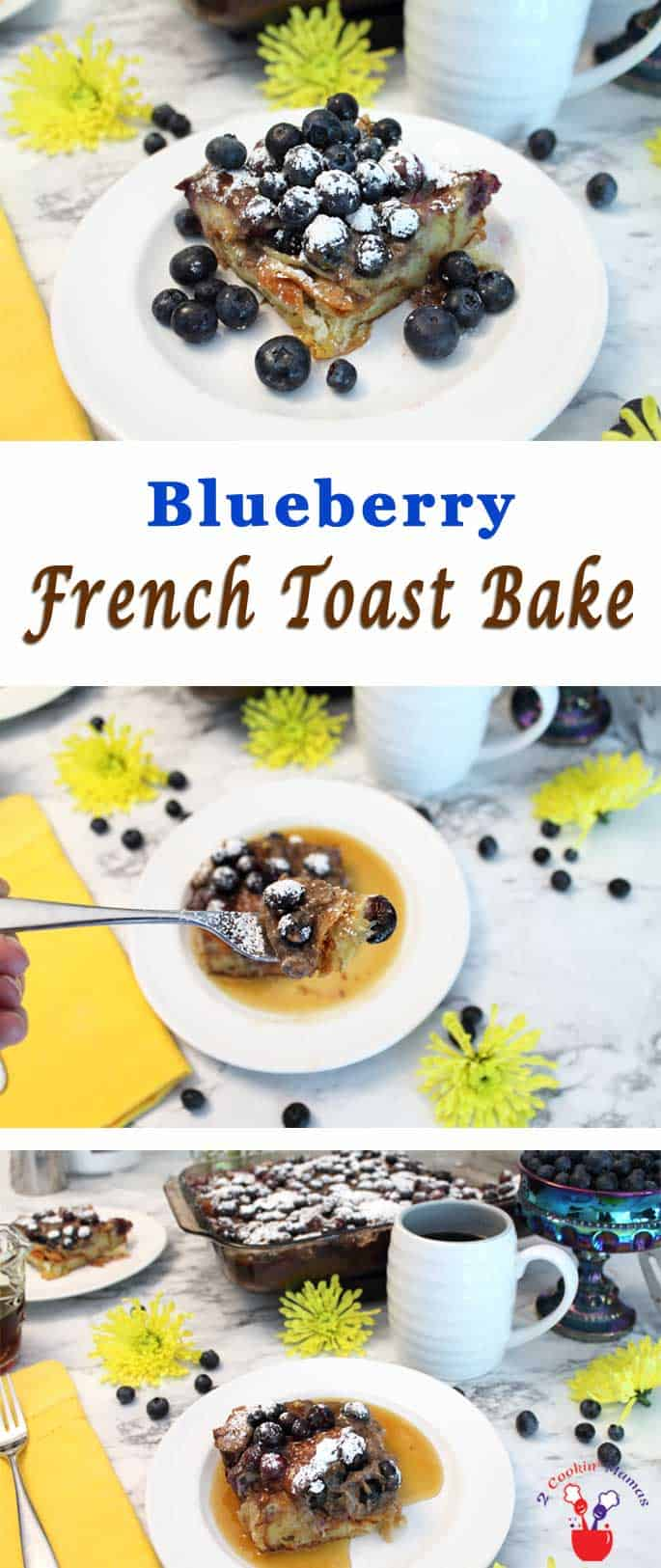 Blueberry French Toast Bake | 2 Cookin Mamas Our Blueberry French Toast Bake makes breakfast as easy as 1-2-3. Layer croissants, blueberries, yogurt & eggs in dish, chill & bake. A sweet morning treat!