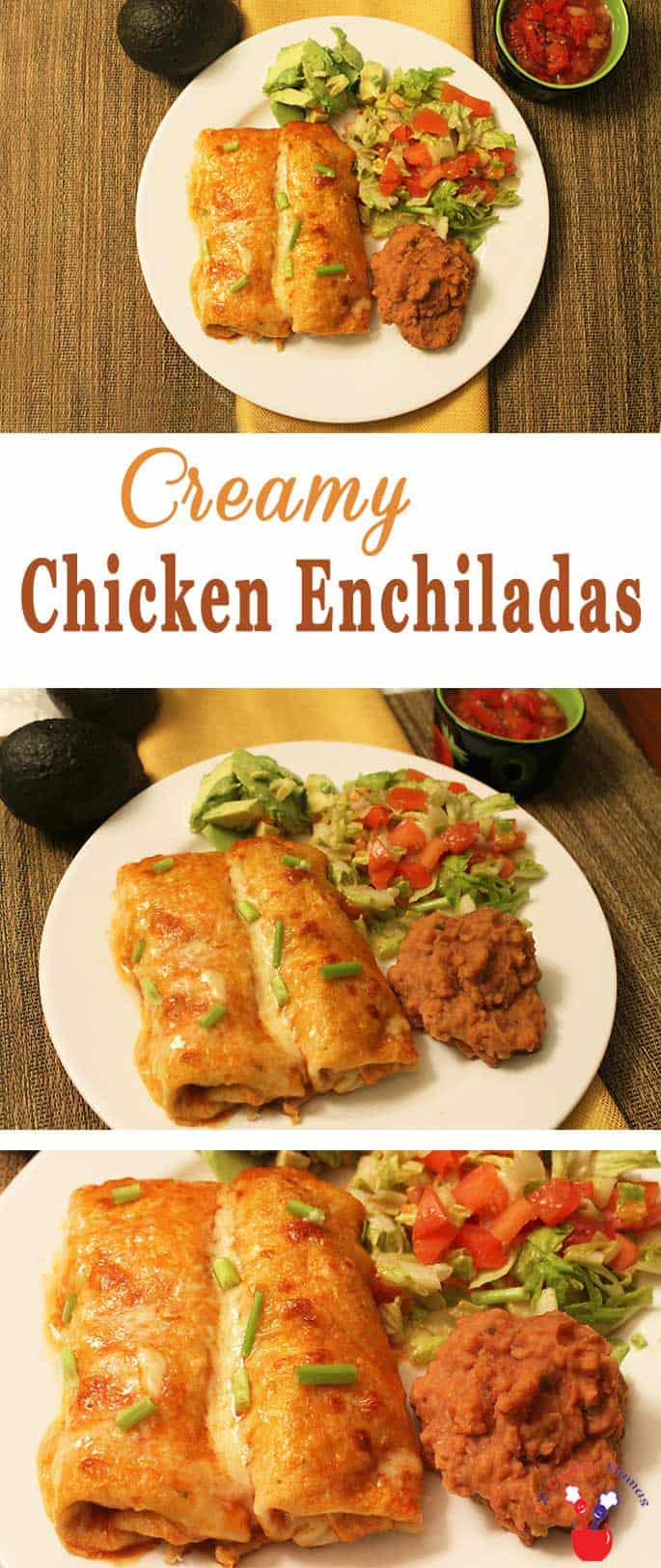 When you\'re in the mood for Mexican these Creamy Chicken Enchiladas will hit the spot. Deliciously creamy, easy to make & perfect for busy weeknights. #enchiladas #chicken #dinner #recipe #quickandeasy