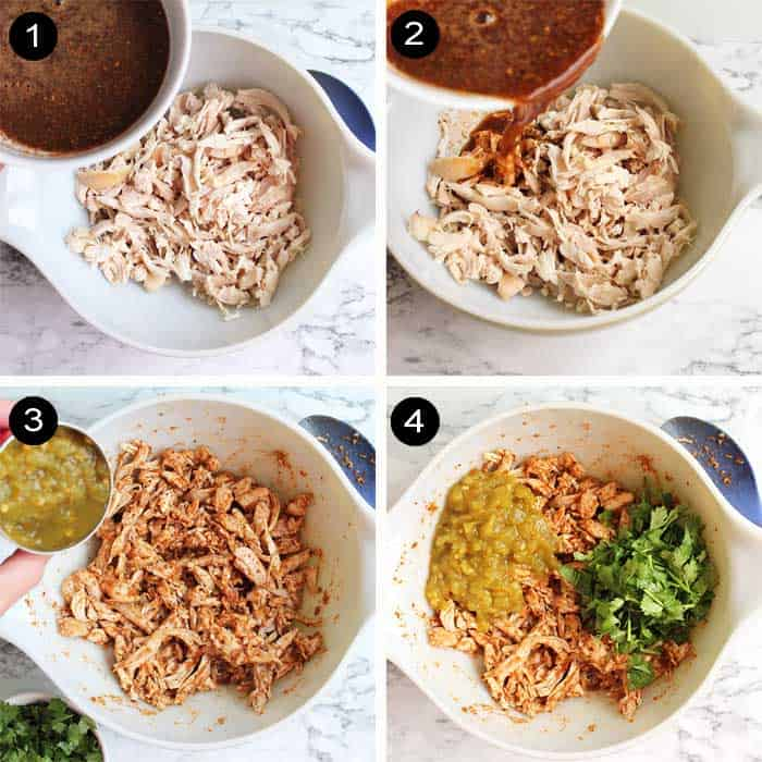 Steps to make chicken filling.