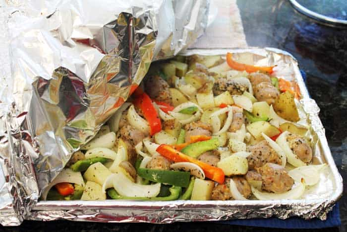 Sausage and Peppers Sheet Pan Dinner baked | 2 Cookin Mamas