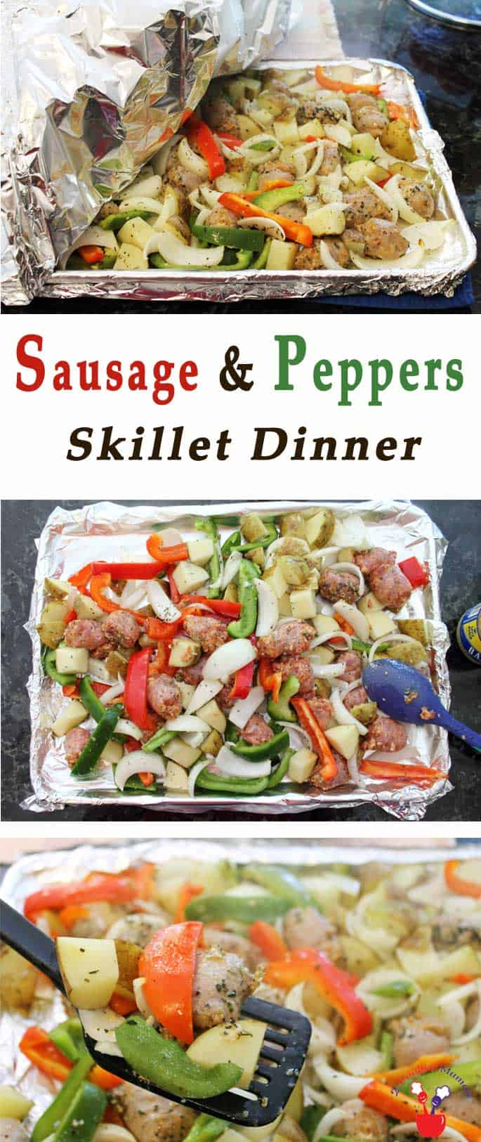 Our Sausage & Peppers Sheet Pan dinner is a great alternative to grilling. It's delicious, super easy & cleanup is a breeze. #sheetpandinner #sausageandpeppers #dinner #quickandeasy #recipe