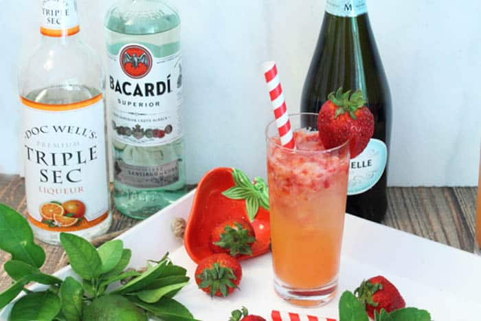 Strawberry Rum Fizz ingredients | 2 Cookin Mamas