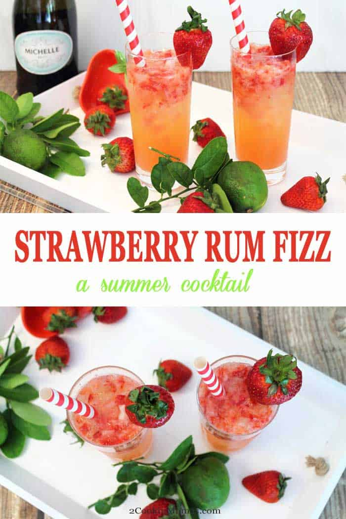 Summer never tasted so good! This easy Strawberry Rum Fizz is a mix of strawberries, lime & rum topped with a little bubbly. It's a light, refreshing cocktail for breakfast, brunch or any time. #cocktail #strawberry #rum #recipe #summercocktail #champagne