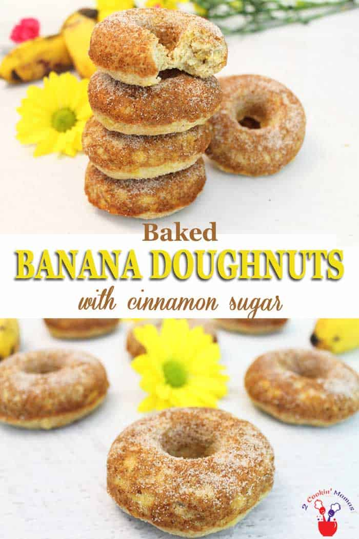 Moist, flavorful banana doughnuts are baked not fried then dusted with cinnamon sugar. They\'re a healthier option for a grab-n-go breakfast or an after school snack. #doughnuts #donuts #bananas #cinnamon #easy #baked #healthybreakfast #recipe #snack