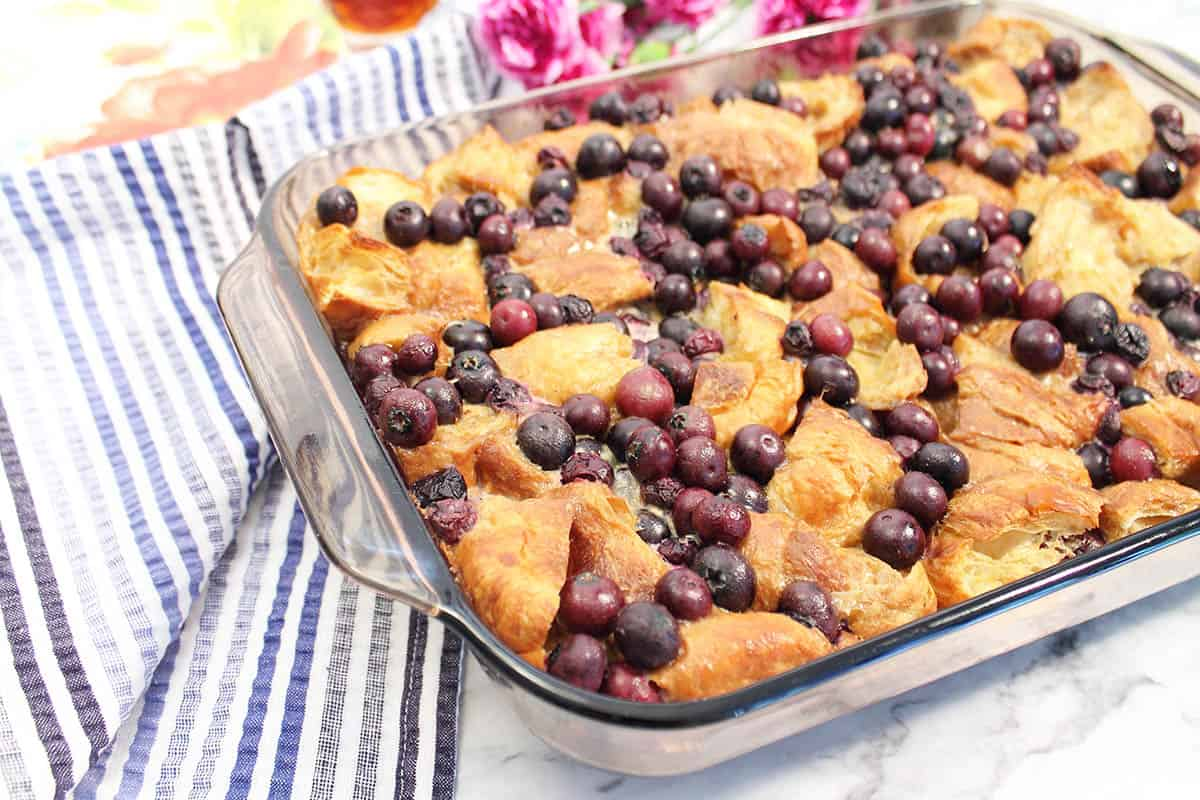 Beautiful baked french toast casserole.