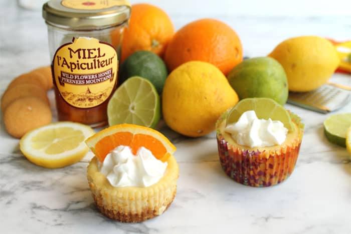 Citrus Honey Mini Cheesecakes 1 | 2 Cookin Mamas