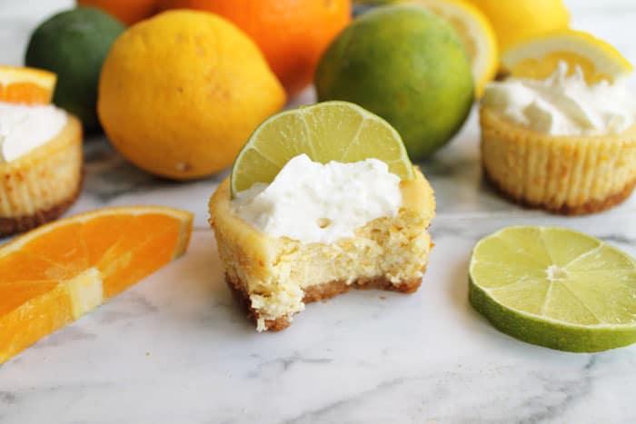 Mini Citrus Honey Cheesecakes bite | 2 Cookin Mamas