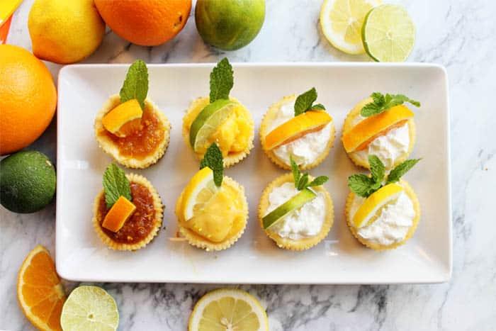 Mini Citrus Honey Cheesecakes overhead 2 | 2 Cookin Mamas