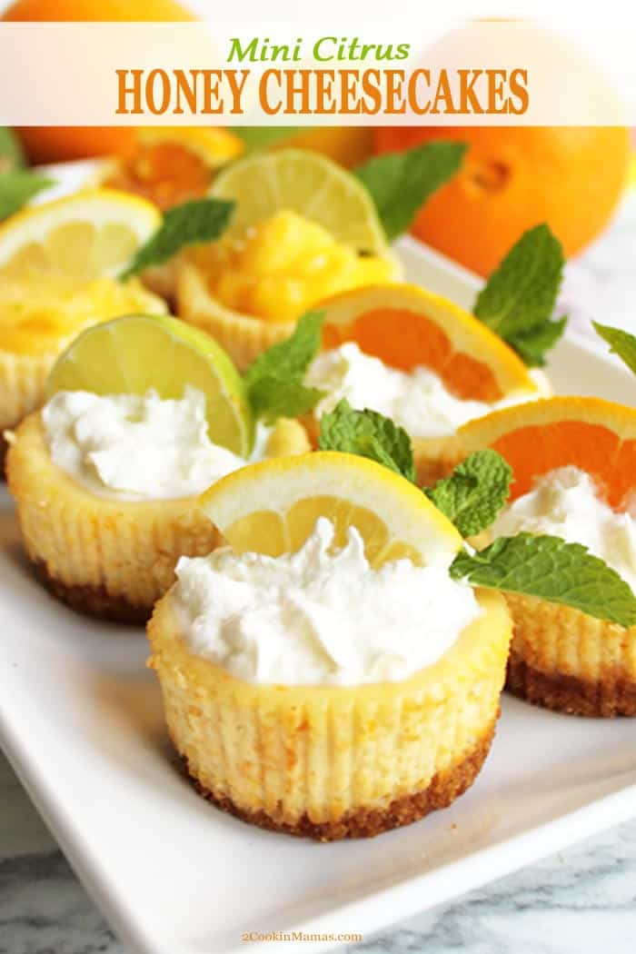 Our easy mini citrus honey cheesecakes are creamy, sweetened with honey & flavored with fresh oranges, lemons & limes. The perfect cool little dessert for summer. #sponsored #CookoutWeek @FrenchFarmThe #dessert #recipe #cheesecake #honey #citrus #mini