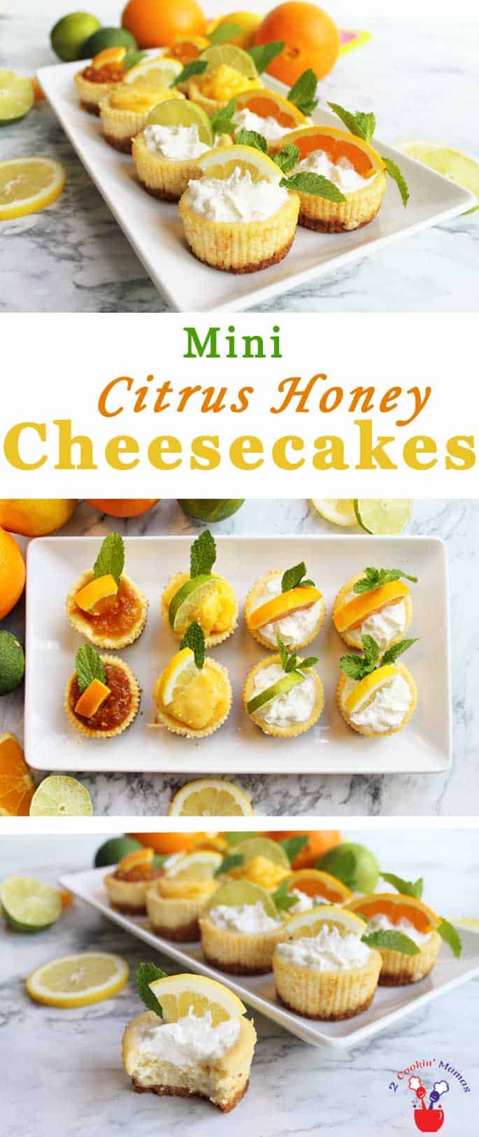 Mini Citrus Honey Cheesecakes | 2 Cookin Mamas Our easy citrus honey cheesecakes are creamy, honey-sweetened & flavored with fresh oranges, lemons & limes. The perfect cool mini dessert for summer.