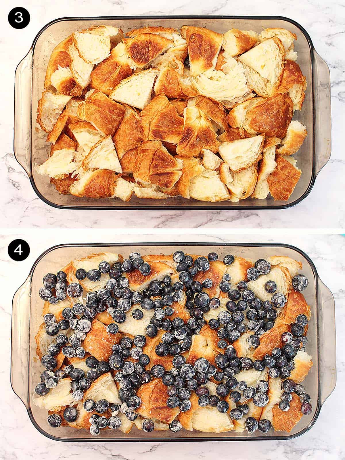 Layering croissants and blueberries into casserole dish.