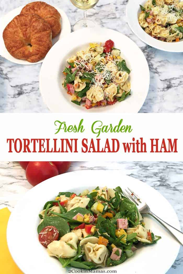 Garden Tortellini Salad with Ham NEW | 2 Cookin Mamas Healthy salads are perfect for summer & our fresh garden tortellini salad is easy & delicious with cheese tortellini, fresh produce, ham & a light dressing. #summersalad #salad #healthysalad #tortellinisalad #lightlunch #tortellini #ham #recipe