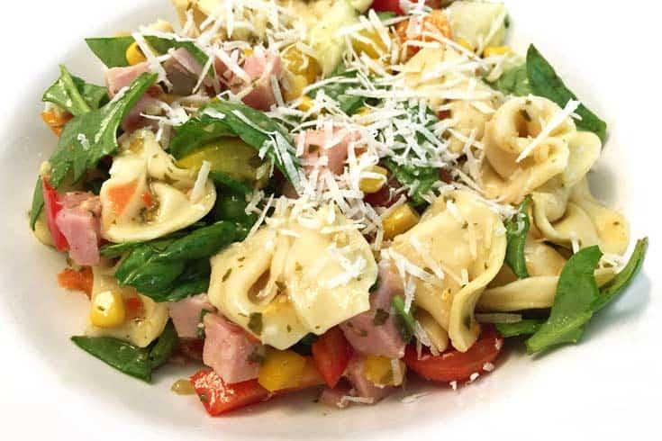 Garden Tortellini Salad with ham closeup 1 | 2 Cookin Mamas