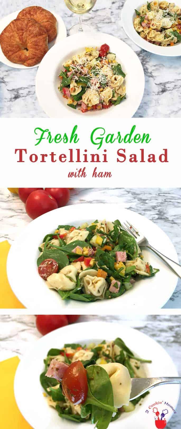 Garden Tortellini Salad with ham | 2 Cookin Mamas
