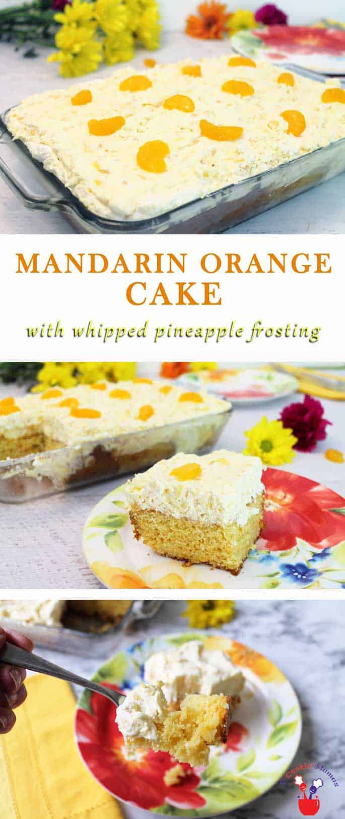 Mandarin Orange Cake | 2 Cookin Mamas Mandarin Orange Cake is the perfect easy summer dessert! Sweet mandarin oranges delicately flavor a boxed cake mix & pineapple Cool Whip adds a sweet touch.