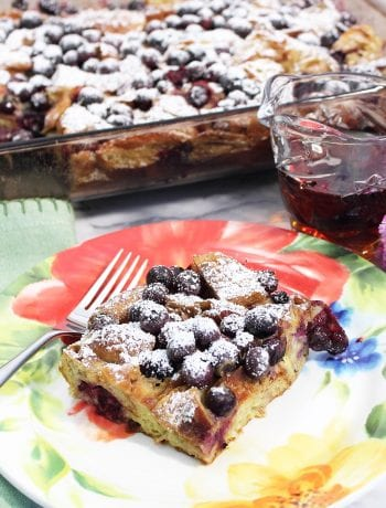 Serving on spring flowered plate with syrup and casserole.