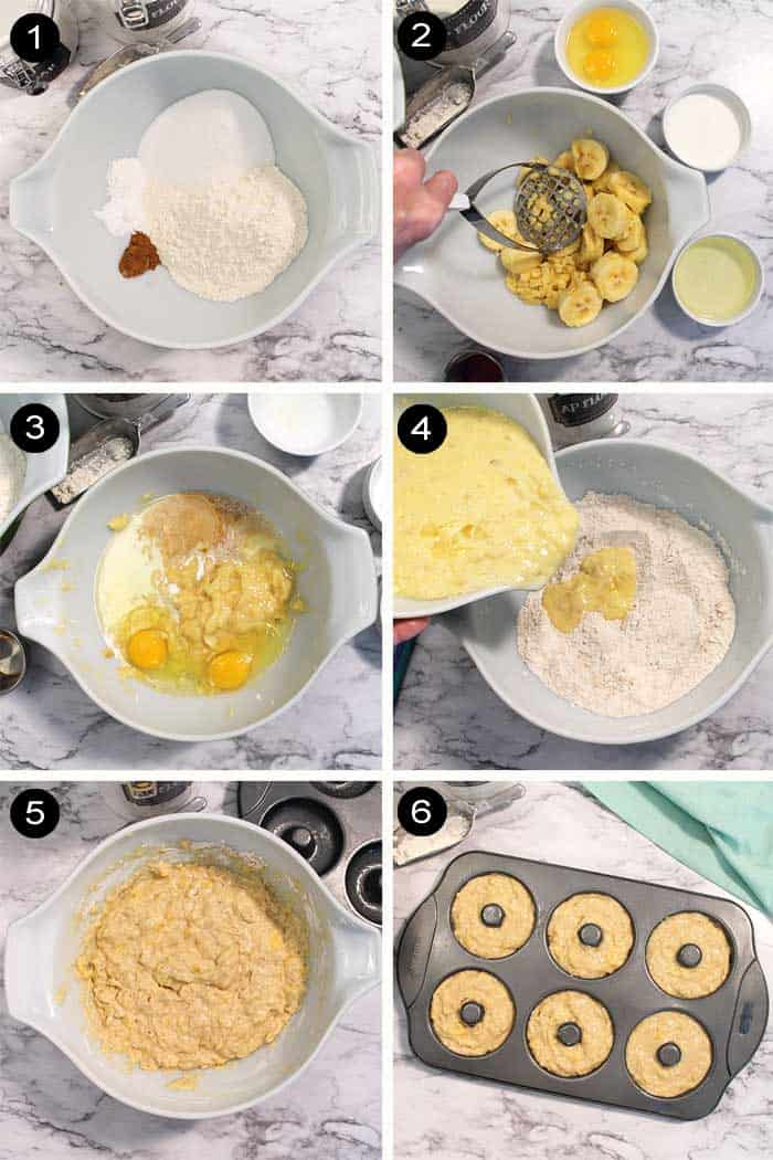 Steps to make banana doughnuts.