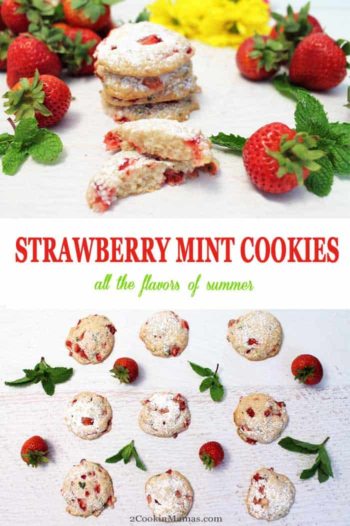 Strawberry Mint Cookies | 2 Cookin Mamas These Strawberry Mint Cookies are soft & rich & packed full of the season's freshest, juiciest strawberries with just a hint of mint. Bet you can't eat just one! #cookies #strawberries #mint #recipe #summer