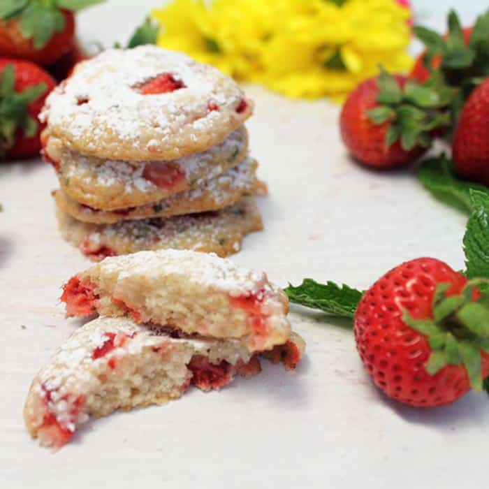 Strawberry Mint Cookies square 2 | 2 Cookin Mamas
