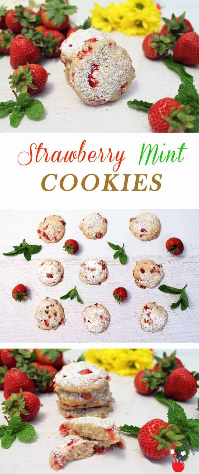 Strawberry Mint Cookies pin | 2 Cookin Mamas