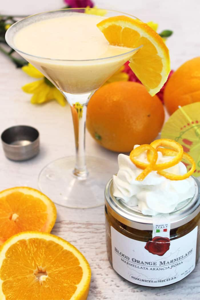 Blood Orange Martini with orange marmalade jar.