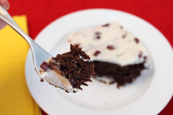 Black Cherry Brownies bite closeup | 2 Cookin Mamas