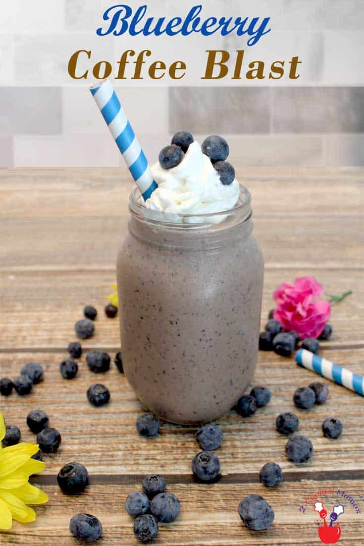 A cross between a cafe latte and a smoothie, this blueberry coffee blast is the best way to start your morning. Delicious flavors of blueberries, chocolate and coffee make this a deliciously healthy breakfast treat. #smoothie #breakfast #coffee #blueberries #healthy #recipe
