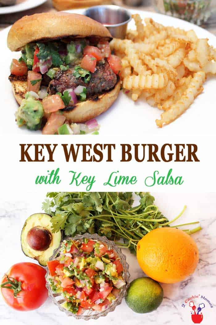 Key West Burger with Key Lime Salsa | 2 Cookin Mamas Savor the flavor of the Florida Keys with our Key West Burger. It's grilled to perfection then topped with Key West pinks & piled high with key lime salsa. #burgers #shrimp #keylimesalsa #recipe #griiling