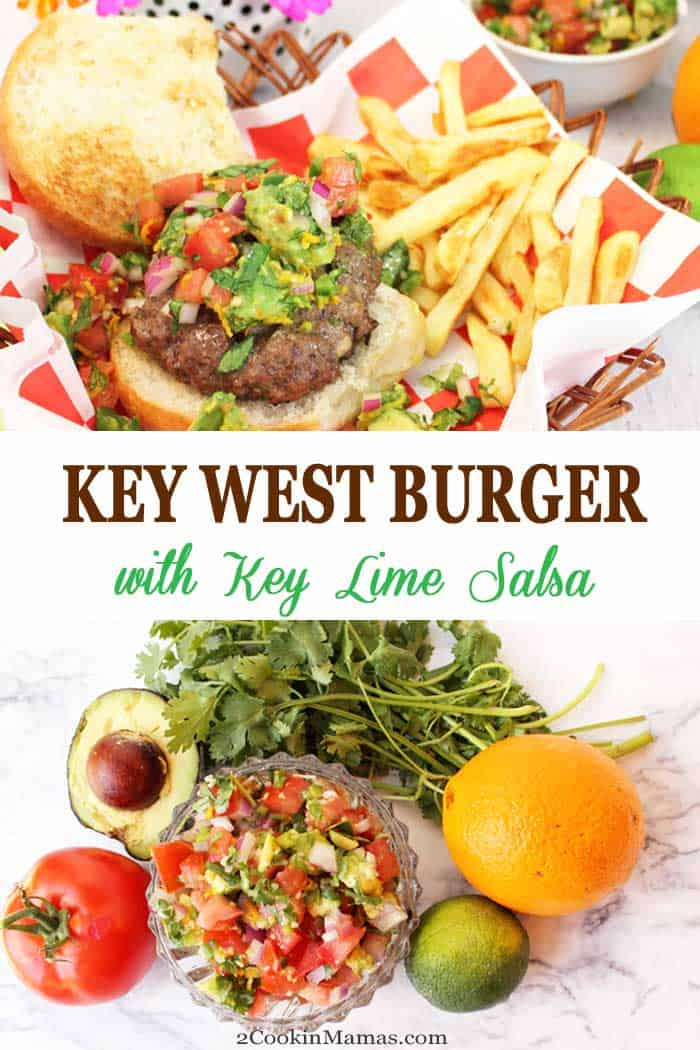 Key West Burger with Key Lime Salsa | 2 Cookin Mamas Savor the flavor of the Florida Keys with our Key West Burger. It's grilled to perfection then topped with Key West pinks & piled high with key lime salsa. #burgers #shrimp #keylimesalsa #grilling #salsa #recipe #dinner #BBQ