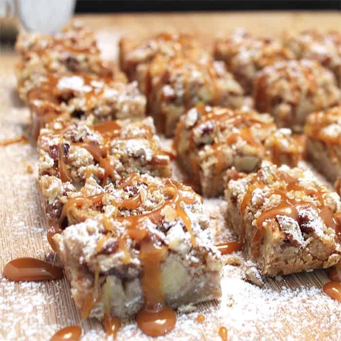 Apple Pie Caramel Bars square 700 | 2 Cookin Mamas